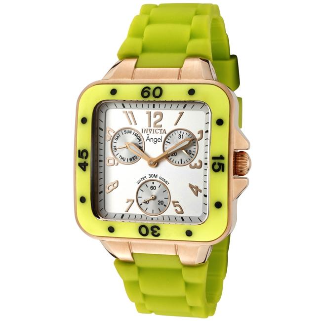 Invicta Women's 'Angel' Light Silver Dial Neon Green Rubber Watch
