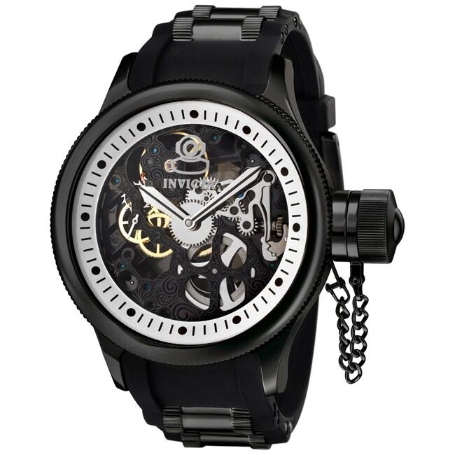 Invicta Men's 'Russian Diver' Black Rubber & Black IP Mechanical Watch