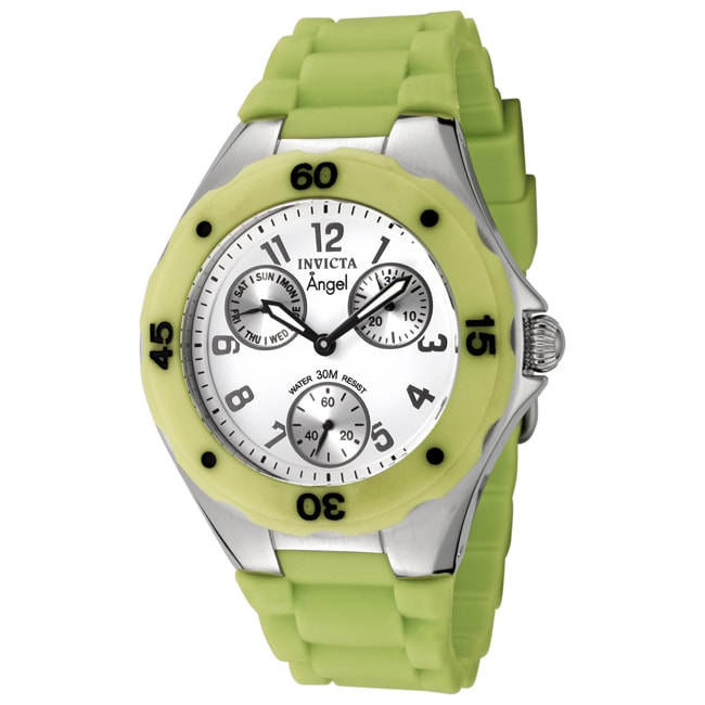 Invicta Women's 'Angel' White Dial Light Green Silicon Watch