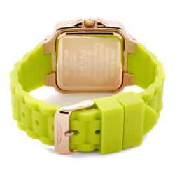 Invicta Women's 'Angel' Light Silver Dial Neon Green Rubber Watch