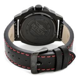 Invicta Men's 'Invicta II' Black Dial Black Leather Watch