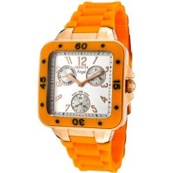 Invicta Women's 'Angel' Light Silver Dial Neon Orange Rubber Watch