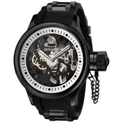 Invicta Men's 'Russian Diver' Black Rubber & Black IP Mechanical Watch