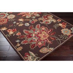 Hand-hooked Chocolate Xiang Wool Rug (5' x 8')