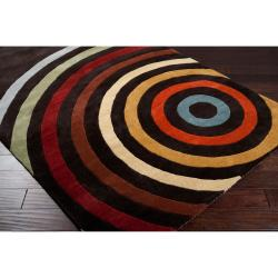 Hand-tufted Black Contemporary Multi Colored Circles Oromo Wool Geometric Rug (9' x 12')