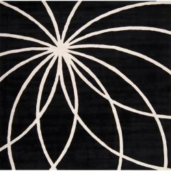 Hand-tufted Contemporary Black/White Hakka Wool Abstract Rug (8' Square)