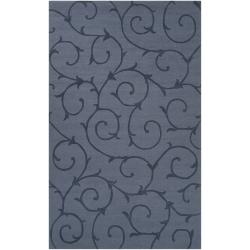 Hand-crafted Blue Solid Bristol Wool Rug (5' x 8')