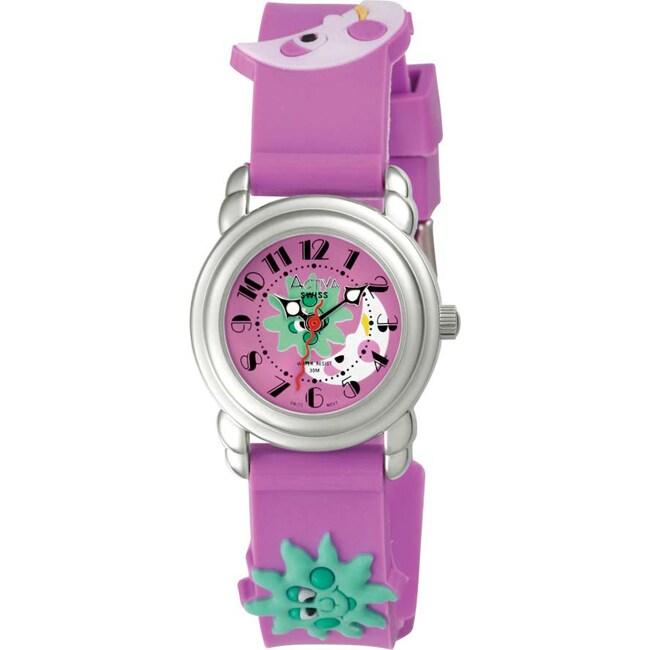 Activa Juniors Pink Dial Pink Cartoon Design Rubber Watch