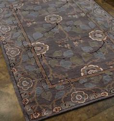 Hand-Tufted Gray Wool Fish-Themed Rug (8' x 11')