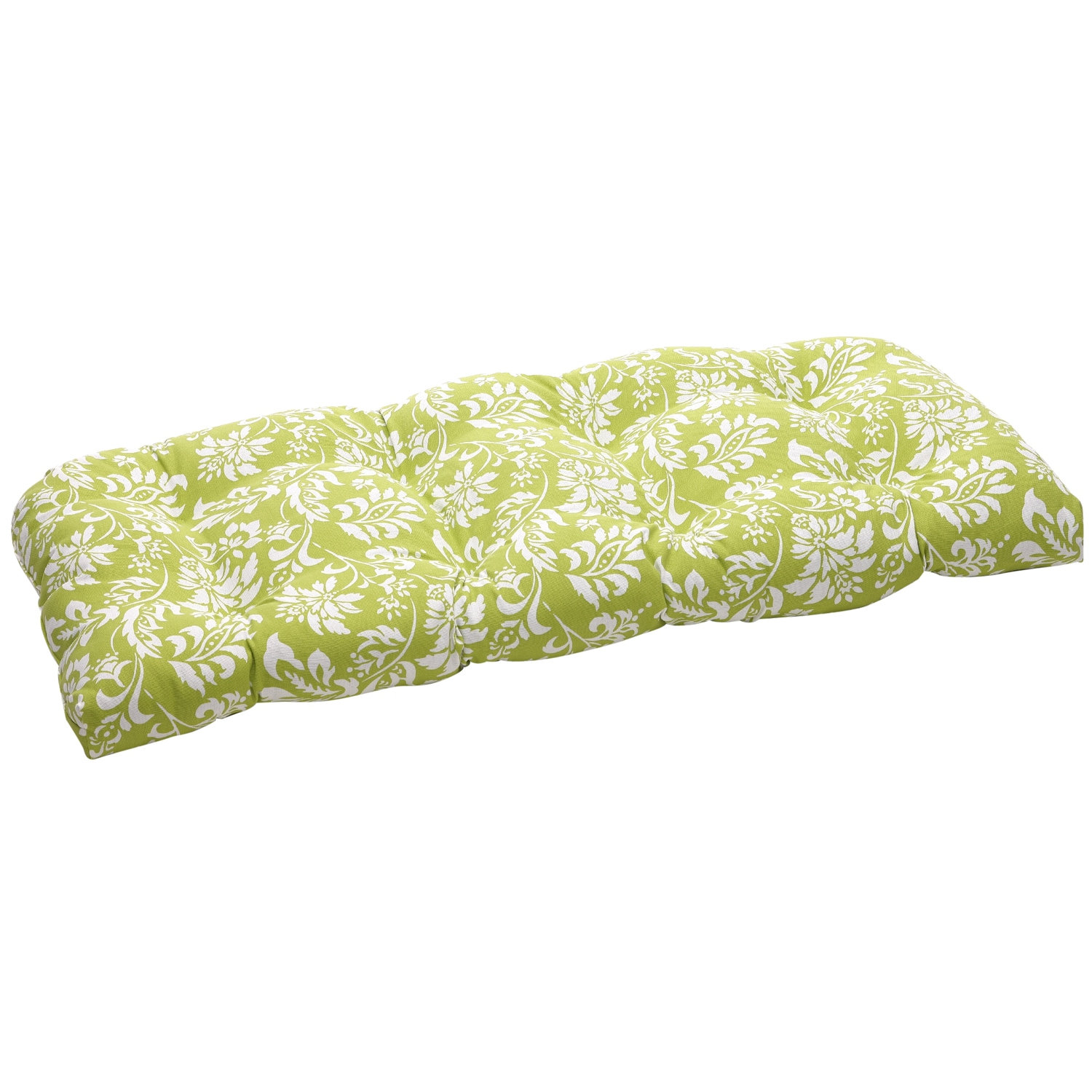 Green/White Floral Outdoor Wicker Loveseat Cushion
