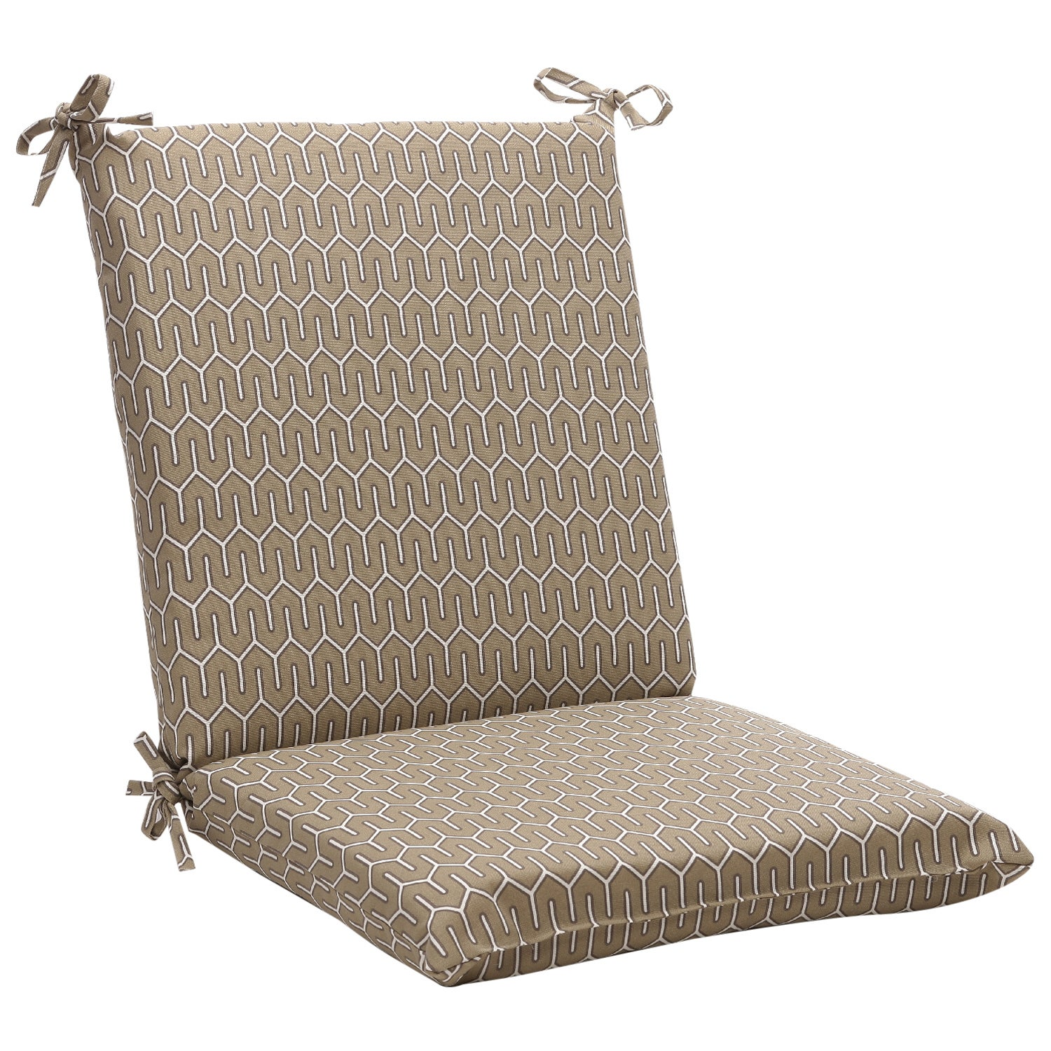 Squared Contemporary Taupe Outdoor Chair Cushion