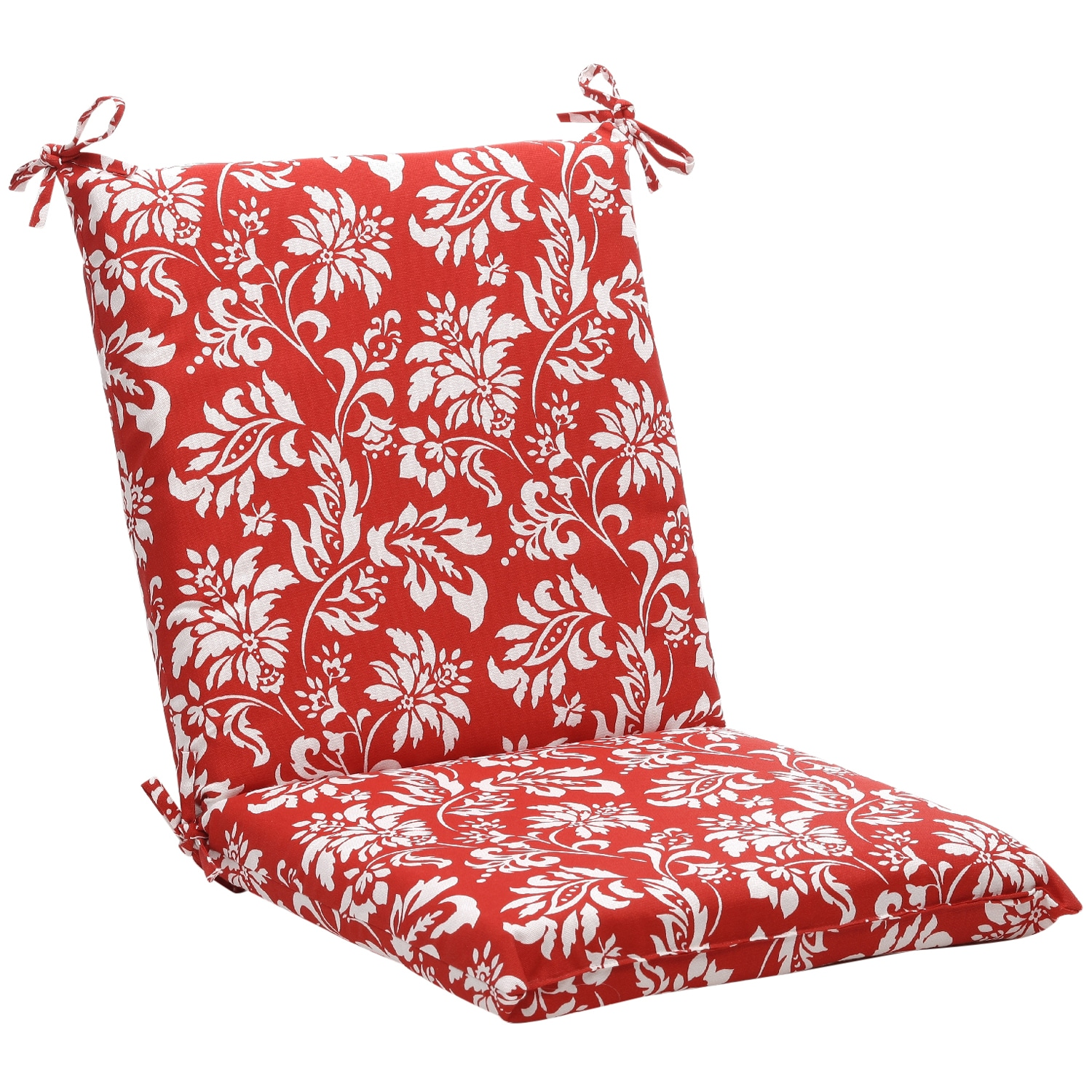 Squared Red/ White Floral Outdoor Chair Cushion