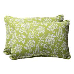 Decorative Green and White Floral Rectangle Outdoor Toss Pillow (Set of 2)