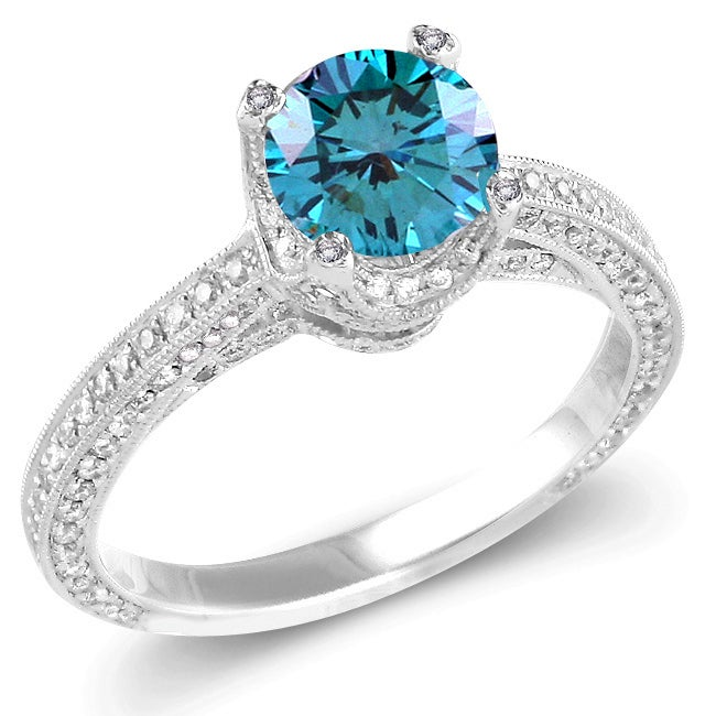14k White Gold 1 5/8ct TDW Blue and White Diamond Ring (G-H, SI1-SI2)