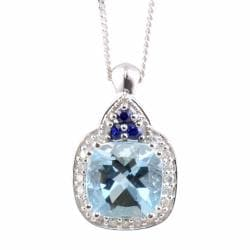 Michael Valitutti 14k Gold Aquamarine, Sapphire and 1/10ct TDW Diamond Necklace (I-J, I1-I2)
