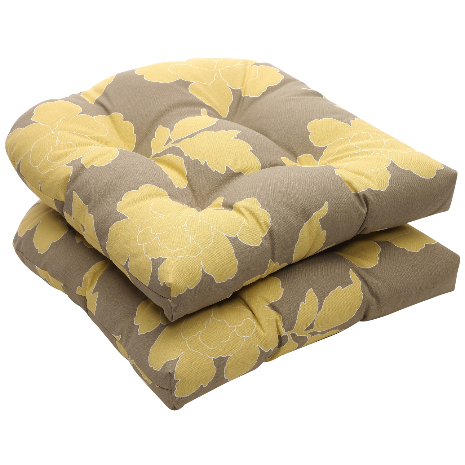 Outdoor Gray and Yellow Floral Wicker Seat Cushions Set