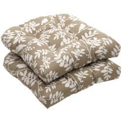 Outdoor Taupe Floral Wicker Seat Cushions (Set of 2)