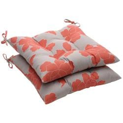 Outdoor Gray and Coral Floral Tufted Seat Cushion (Set of 2)