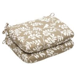 Outdoor Taupe Floral Rounded Seat Cushion (Set of 2)