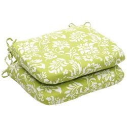 Outdoor Green and White Floral Rounded Seat Cushions (Set of 2)