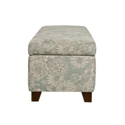 angelo:HOME Kent Vintage Sea Foam Blue Floral Wall Hugger Trunk Storage Ottoman