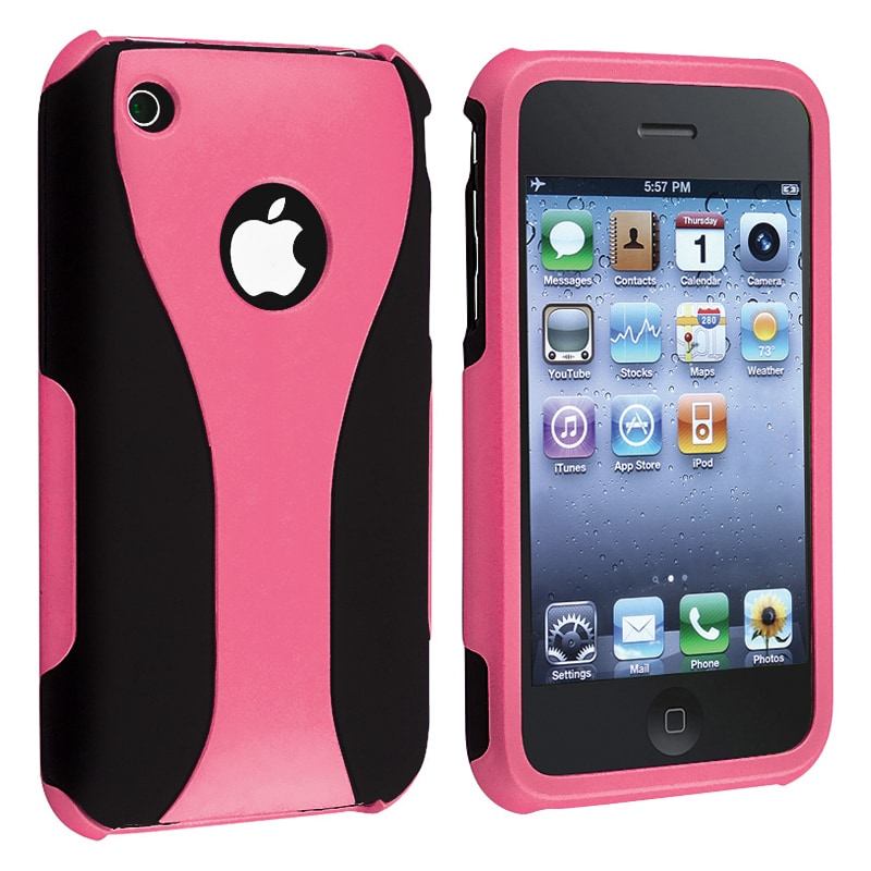 Baby Pink/ Black Cup Shape Snap-on Case for Apple iPhone 3G/ 3GS
