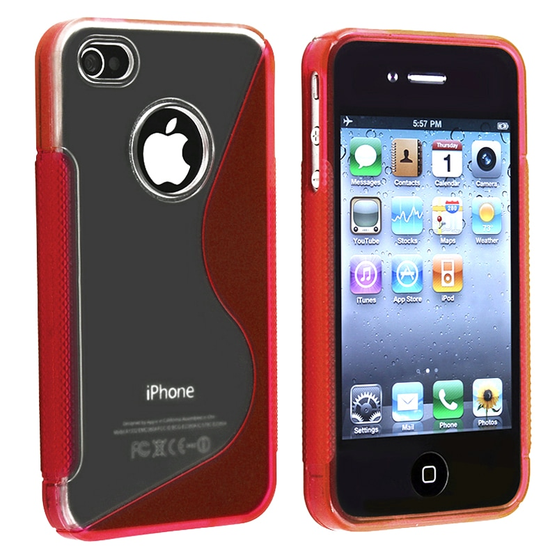 Clear/ Frost Red S Shape TPU Rubber Skin Case for Apple iPhone 4/ 4S