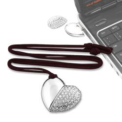 4GB Silver Jeweled Metal Heart Necklace USB Flash Drive
