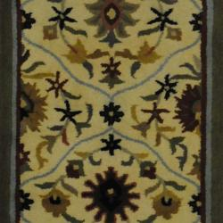 Indo Hand-tufted Tibetan Ivory/ Grey Wool Rug (2'3 x 7'10) (India)