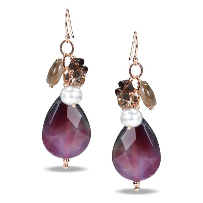 Sterling Silver Multi-gemstone and Pearl Earrings (6-7 mm)