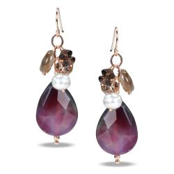 Sterling Silver Multi-gemstone and Pearl Earrings (6-7 mm)