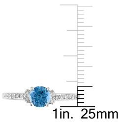 Miadora 14k Gold 3/4ct TDW Blue and White Diamond Solitaire Ring