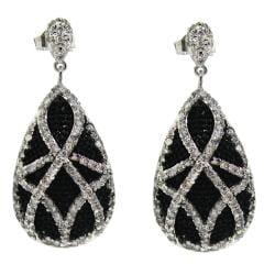 Sterling Silver Clear Cubic Zirconia Black Beaded Pear-shaped Earrings