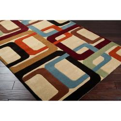 Hand-tufted Contemporary Multi Colored Square Chandil Wool Geometric Rug (9' x 12')