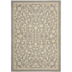 Grey/ Natural Indoor Outdoor Rug (6'7 x 9'6)
