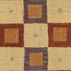 Safavieh Handmade New Zealand Checkers Beige/ Rust Rug (8' Square)