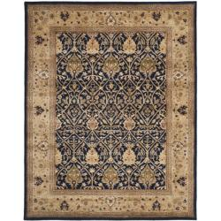 Handmade Mahal Blue/ Gold New Zealand Wool Rug (6' x 9')