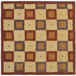 Handmade New Zealand Checkers Beige/ Rust Rug (8' Square)