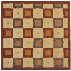 Safavieh Handmade New Zealand Checkers Beige/ Rust Rug (8' Square)