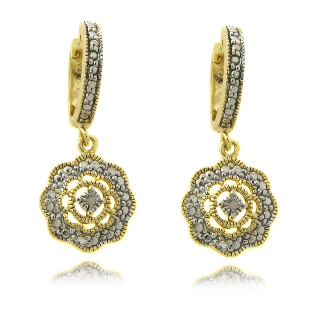 Finesque Diamond Accent Flower Dangle Earrings