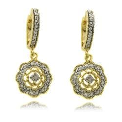 Finesque Diamond Accent Flower Dangle Earrings