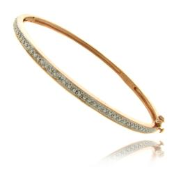 Finesque Rose Gold over Silver Diamond Accent Bangle Bracelet