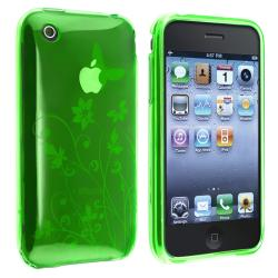 Green Flower/ Butterfly TPU Rubber Skin Case for Apple iPhone 3G/ 3GS
