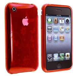 Red Flower/ Butterfly TPU Rubber Skin Case for Apple iPhone 3G/ 3GS