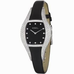 Ebel Women's 'Moonchic' Black Diamond Dial Black Satin Strap Watch