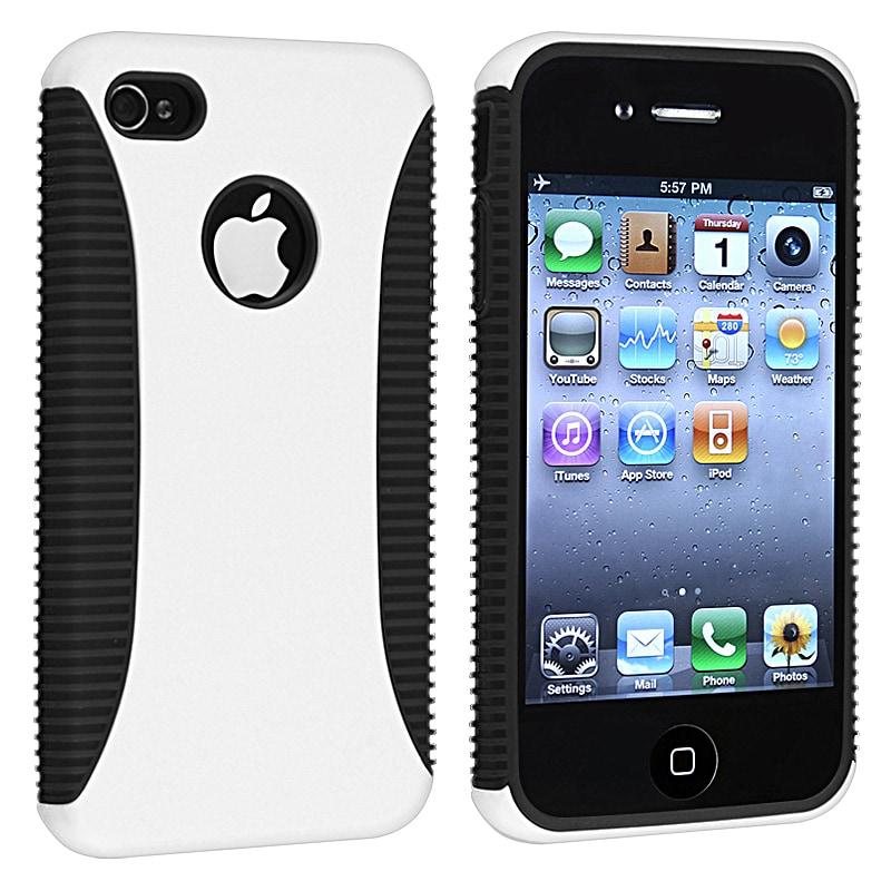 Black TPU/ White Hard Hybrid Case for Apple iPhone 4/ 4S