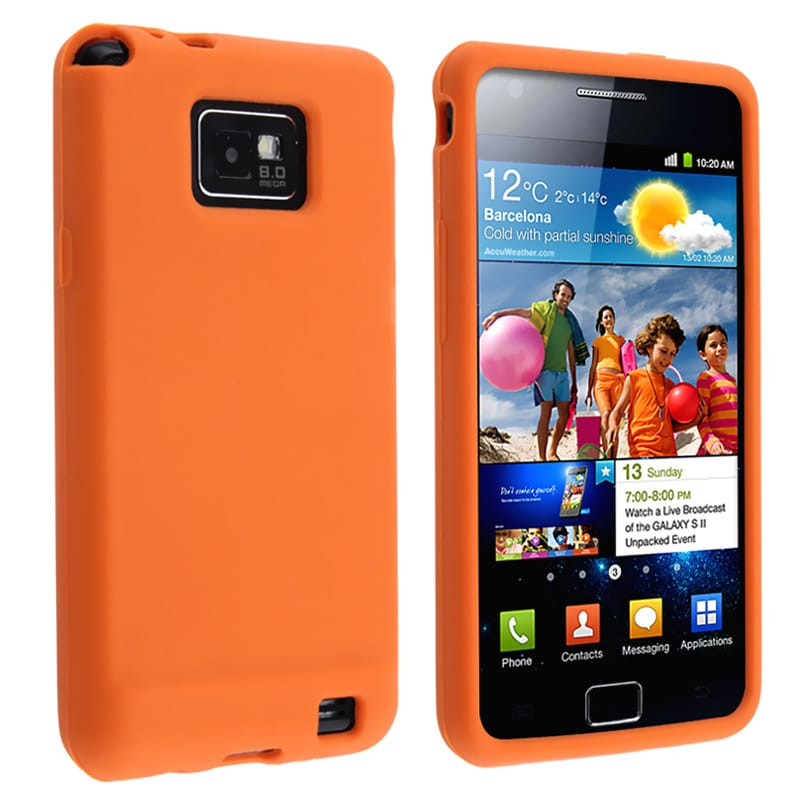 Orange Silicone Skin Case for Samsung Galaxy S II i9100