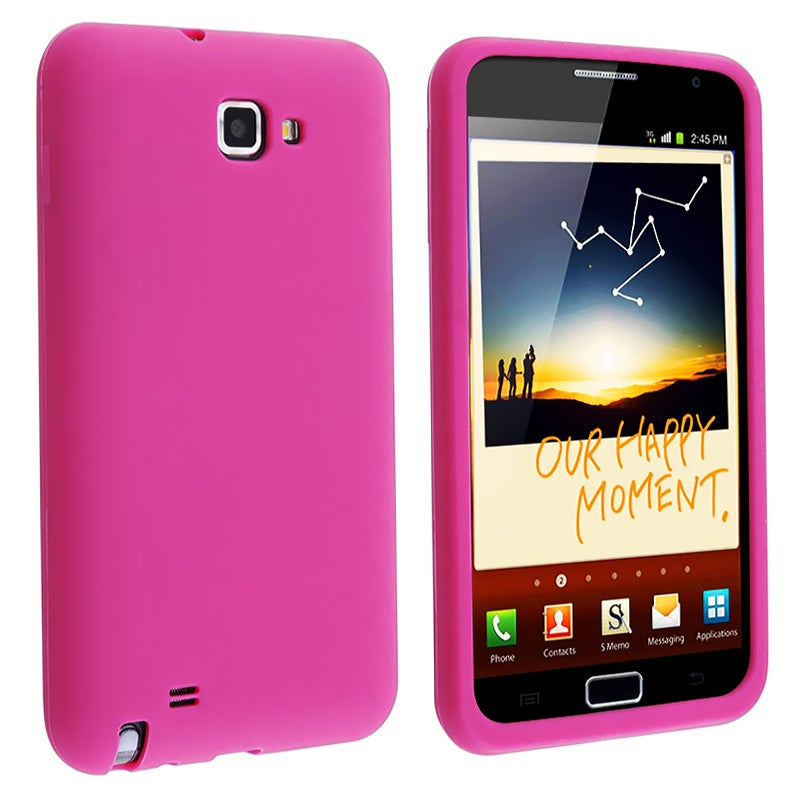 Hot pink Silicone Skin Case for Samsung Galaxy Note N7000