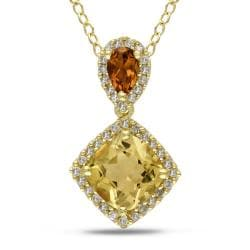Miadora Yellow Silver Citrine and 1/6ct TDW Diamond Necklace (G-H,I2-I3)