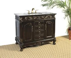 Distressed Espresso Black Granite Bathroom Vanity with Sink